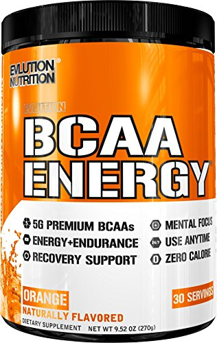 Evlution Nutrition BCAA Energy - High Performance Amino Acid Supplement for Anytime Energy, Muscle Building, Recovery & Endurance, Pre Workout, Post Workout (Orange, 30 Servings)