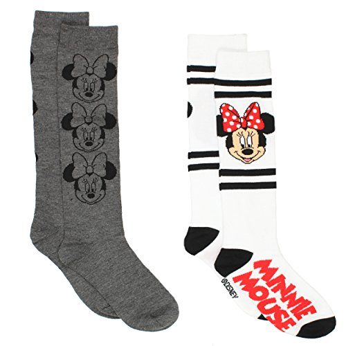 Disney Minnie Mouse Womens 2 pack Socks (9-11 (Shoe: 4-10), Knee High Grey/White) -
