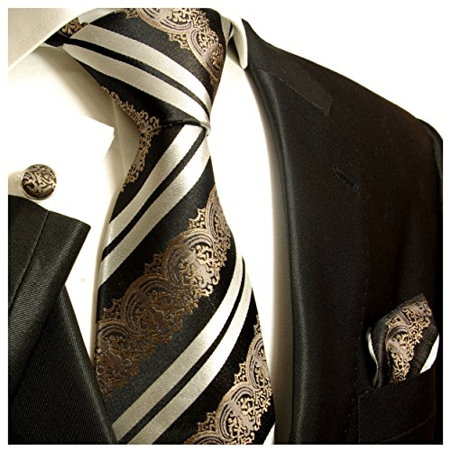 Paul Malone Necktie, Pocket Square and Cufflinks 100% Black Baroque