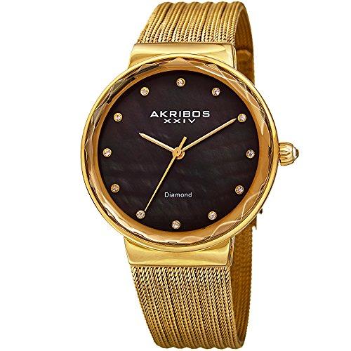 Akribos XXIV Women's Quartz Diamond & Black Mother-of-Pearl Gold-Tone Fine Mesh Bracelet Watch - AK1009YGB