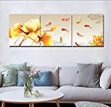 LB Chinese Style Painting Decor 3 Piece Canvas Print Wall Art With Frame,lotus and nine koi fishes swimming in pond Print Artwork for Living Room Bedroom Home Decoration