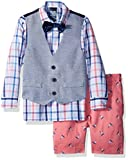 IZOD Toddler Boys' Four Piece Formal Vest Set, Confetti Sailboat, 4T
