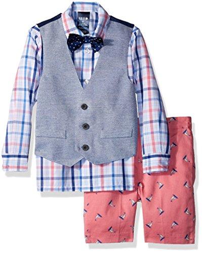 Izod boys 4-Piece Vest Set with Dress Shirt, Bow Tie, Shorts, and Vest, Confetti Sailboat, 4T -