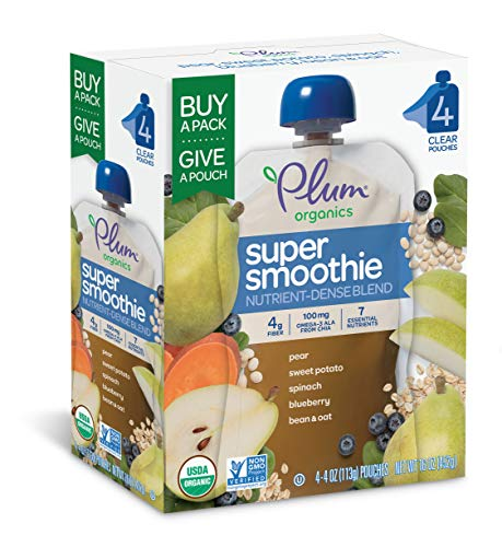 Plum Organics Super Smoothie, Blueberry, Pear, Sweet Potato & Spinach with Beans & Oats, 4 Ounce (Pack of 24)