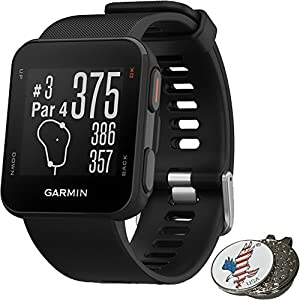 Garmin Approach S10 Golf GPS Watch, Black + 1 Custom Ball Marker Clip Set (American Eagle)