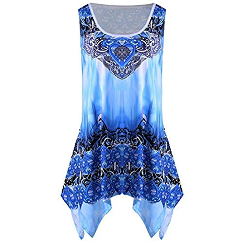 POHOK Tank Blouse Fashion Ladies Round Neck Sexy Irregular Print Casual Vest Top Blue ()