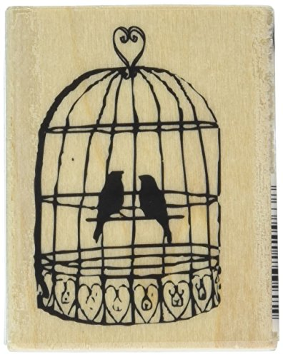 Hampton Art Love Bird Cage Wood Rubber Stamp