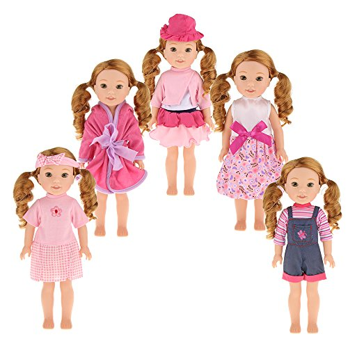 dreamflyingtech 5PCS Doll Clothes Wardrobe Makeover Fits for 14