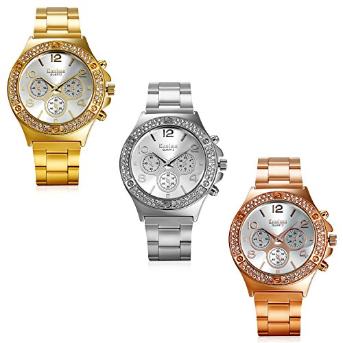 Lancardo Luxury Bling Double Dual Rhinestone Bezel Gold Tone Watch (3 Colors) (Silver, New Version) by Lancardo (Image #4)