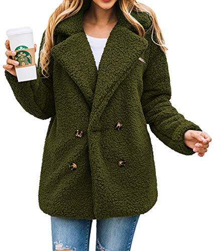 PRETTYGARDEN Women's Warm Long Sleeve Lapel Open Front Button Draped Fleece Coat Fluffy Outwear with Pockets