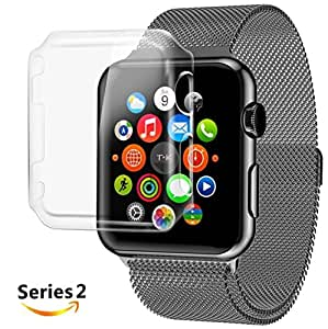 Josi Minea Apple Watch [38mm] Protective Snap-On Case with Built-in Glass Screen Protector - Anti-Scratch & Shockproof Full Transparent Shield Cover for Apple Watch Series 2 [PC Hard Clear] - 38mm