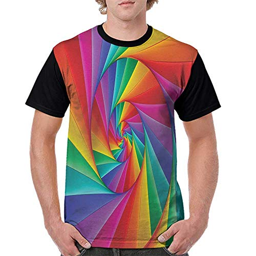 PUTIEN Fractal Decor Boys and Girls All Over Print T-Shirt,Crew Neck T-Shirt,Abstract S