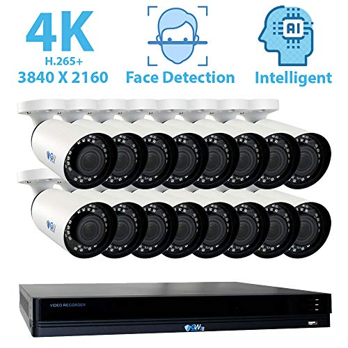GW Security 16 Channel 4K NVR 8MP (3840x2160) H.265+ IP PoE Security Camera System with 16 Outdoor/Indoor 2.8-12mm Varifocal Zoom 8.0 Megapixel 2160P Cameras, Face Recognition, Free Remote View