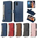 Wallet Case for iPhone Xs MAX (6.5 Inch), HengJun iPhone Xs MAX Wallet Case Premium PU Leather with Zipper Card Slots Stand Cover Flip Protective Case for iPhone Xs Max - Blue