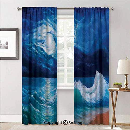 Window Curtains for Bedroom Privacy,Moonlight Over Wavy Sea Dramatic Sky Beach in Oil Painting Effect Navy White,Soft Sheer Curtains for Kitchen,42x84inch Each,2 Panels