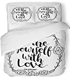 Emvency 3 Piece Duvet Cover Set Breathable Brushed Microfiber Fabric Christian Clothe Yourself with Love on White Believe Bible Border Brushing Bedding Set with 2 Pillow Covers Twin Size