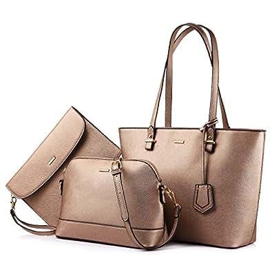 e8e6fff7c9ad Amazon.com  Handbags for Women Shoulder Bags Tote Satchel Hobo 3pcs ...