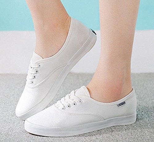 Aisun Dames Comfort Ronde Neus Vetersluiting Flat Canvas Sneakers Skateboarden Schoenen Wit