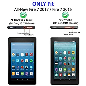 All New Fire 7 2017 Case, Fire 7 2015 Kids Case - DiHines Light Weight Shock Proof Handle Friendly Stand Kid-Proof Case for All New Amazon Fire 7 inch Display Tablet Cover(2015&2017 Release) (Blue)
