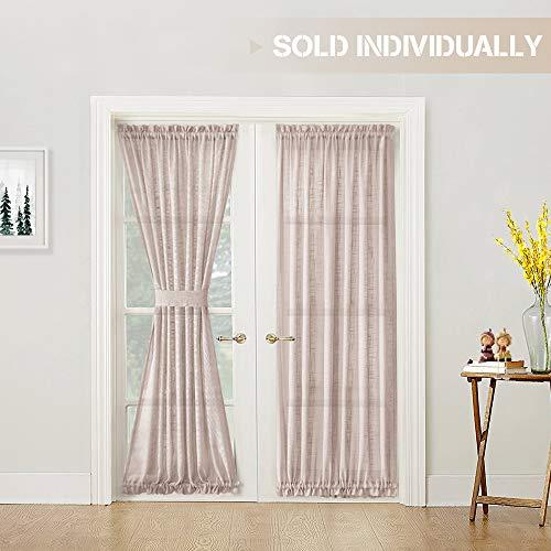 jinchan Linen Textured French Door Sheer Curtain Panel with Bonus Tieback, 52