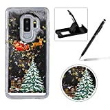 Liquid Case for Samsung Galaxy S8 Plus,Clear Hard Cover for Samsung Galaxy S8 Plus,Herzzer Stylish Luxury 3D Black Glitters Flowing Stars Quicksand Bling Case with Carriage Christmas Tree Santa Claus Pattern