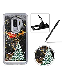 Liquid Case for Samsung Galaxy S9,Clear Hard Cover for Samsung Galaxy S9,Herzzer Stylish Luxury 3D Black Glitters Flowing Stars Quicksand Bling Case with Carriage Christmas Tree Santa Claus Pattern