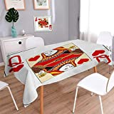 Anmaseven Queen Oblong Patterned Tablecloth Queen of Hearts Playing Card Casino Design Gambling Game Poker Blackjack Dust-proof Oblong Tablecloth Vermilion Yellow White Size: W60 x L84