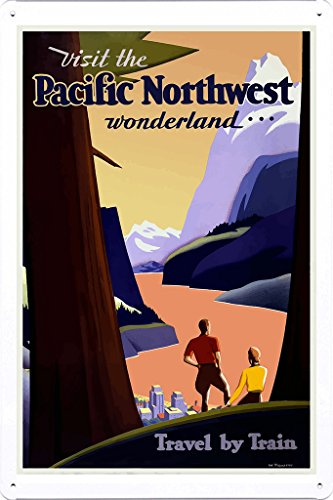 Tin Sign of Retro Vintage Travel Poster Pacific Northwest (20x30cm) By Nature Scene Painting