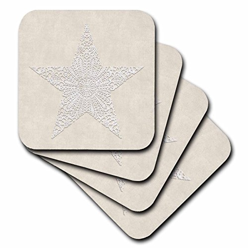 Andrea Lace - 3dRose Andrea Haase Art Illustration - White Lace Star On Beige Surface - set of 8 Coasters - Soft (cst_271221_2)
