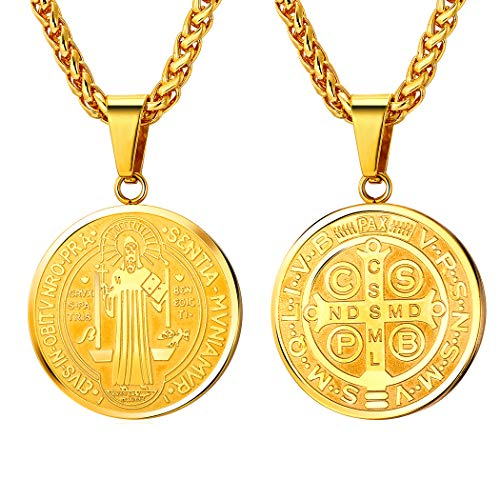 (U7 Medal of Saint Benedict Necklace Men Women Religious Gift 18K Gold Plated Chain Christian Sacramental Medal Pendant Protection Jewelry )