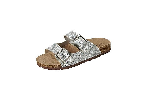 Womens Glitter Open Toe Double Buckle Slide Flat Sandal Flip Flops Slipper Shoes