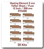 "(20 Kits) Replacement Elements for Impulse Sealer PFS-300 12""(20 Heating Elements 5MM + 20 Teflon Sheets+ 20 Fuses)"
