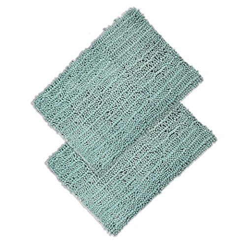 (Raphael Rozen Elegant Bath Set of 2 Microfiber Shag Bath Mat, Non slip Backing, Ultra Soft, Extremely absorbent and Fast Drying. Durable, Easy Cleaning, Machine Washable. 5 Light Green 21