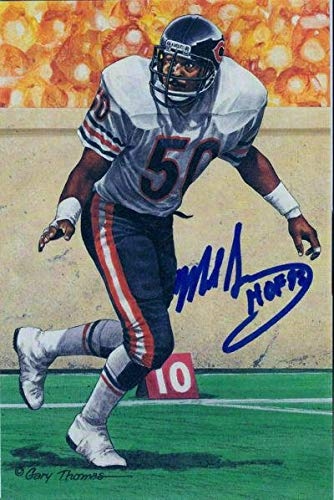 Mike Singletary Autographed Chicago Bears Goal Line Art Card Blue HOF 13238 - Original NFL Art and Prints