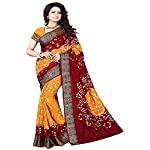 Esomic Women's Bandhani Art Silk Saree with Blouse Piece