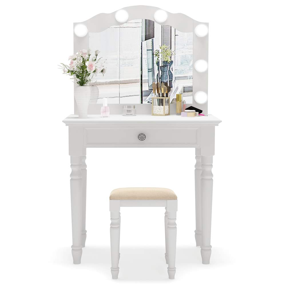 Tribesigns White Vanity Set with Lighted Mirror, Makeup Dressing Table and Stool Set with Large Drawer, Dresser Table Set for Women (White) by Tribesigns (Image #2)