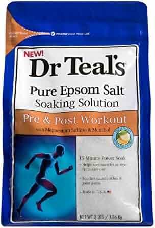 Dr. Teals Pure Epsom Salt Soaking Solution, Pre & Post Workout, 3 Pound Bag