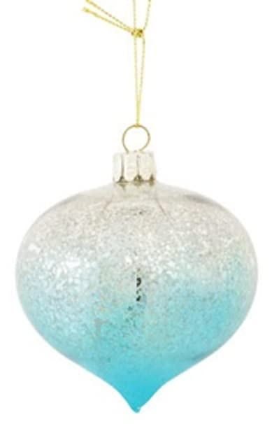 Fade to Blue Mercury Glass Onion Christmas Ornament