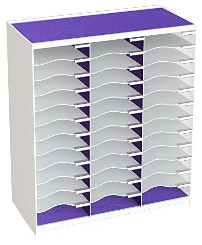 Paperflow Master Literature Organizer, 36 Compartment, White/Purple - Letter Paperflow