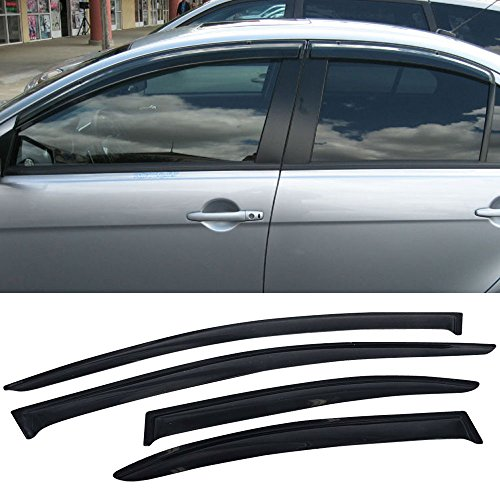 (Window Visors fits 2008-2017 Mitsubishi Lancer | Wind Deflector Rain Sun Guard Slim Style Tape On - Smoke Tint by IKON MOTORSPORTS | 2009 2010 2011 2012 2013 2014 2015)