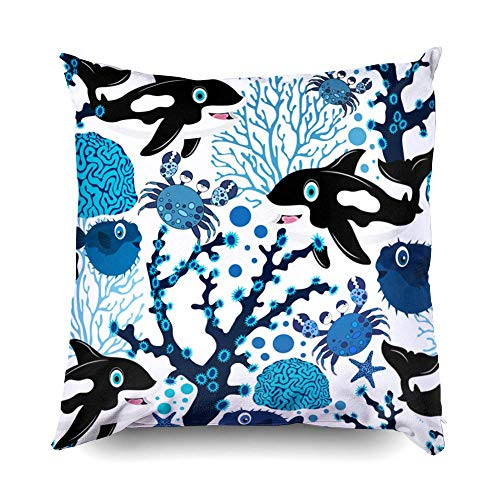 Hug Pillow Covers, Zippered Covers Pillowcases 18x18 Pillow Cover Throw Pillow Covers Nautical Seamless Pattern with Fishes Corals Crabs and Whales Colorful sea Background Textile textur for H (The Coral Sea Look At Her Face)