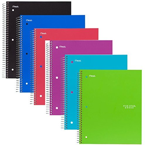 Five Star Spiral Notebook, 1 Subject, 100 College Ruled Sheets, Assorted Colors, 6 PACK