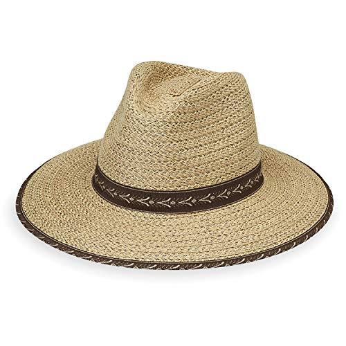 Wallaroo Hat Company Men's Cabo Fedora – Natural/Surf Trim – UPF 50+, Medium ()