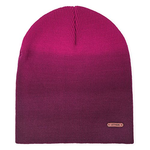 LETHMIK Mix Color Skull Beanie,Daily Knit Skully Winter Hat Unisex Acrylic Ski Cap Rose Red