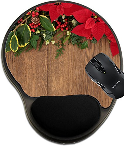 MSD Mousepad Wrist Protected Mouse Pads/Mat with Wrist Support Winter and Christmas Flora with red Poinsettia Flowers Holly Ivy Mistletoe and Spruce fir Over Oak Wood Background Image 30824851 Custom