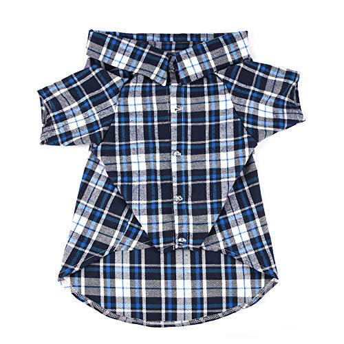 YUNNARL Dog Shirt Plaid Dog Polo Pet Clothes Outfit Apparel Dog T Shirt Soft Adorable Dog Clothes Cozy Halloween Christmas Costumes Sweater Matching Breathable for Medium Large Dogs Cats