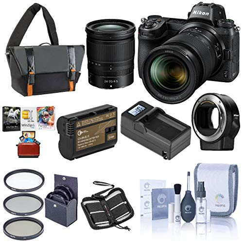 Nikon Z6 FX-Format Mirrorless Camera with NIKKOR Z 24-70mm f/4 S Lens – Bundle with Camera Case, 72mm Filter Kit, Spare Battery, Charger, Cleaning Kit, Memory Wallet, Mac Software Package