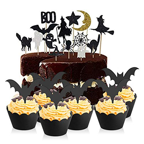 38 Pieces Halloween Cupcake Decoration,Cupcake Toppers Wrappers Set,Cupcake Liners Cake Picks Black Bat Halloween Party Supplies (A)]()