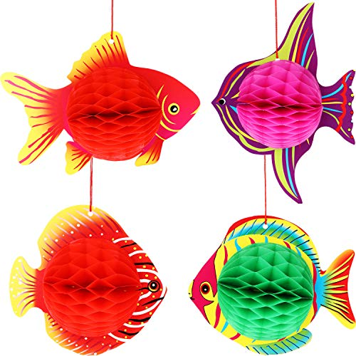 (Zhanmai 16 Pieces Honeycomb Fish Decorations Tropical Fish Hanging Decorations for Party Aquarium Home Supplies, 4 Types)