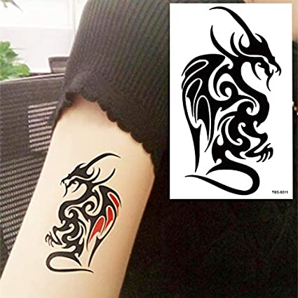Yangll Black Dragon Totem Tattoo Body Art Tatuajes Temporales ...
